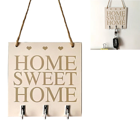 Home Sweet Home Rustic White Wood Hanging Plaque Sign With Hook And Key Hanger