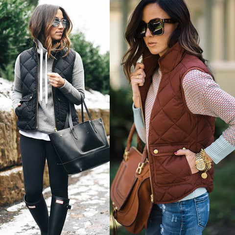 Women Short Sleeve Winter Jacket Red Brown 2 Huge Pockets Waterproof Vest - Dealfactor Canada