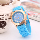 Women Quartz Watch Multi Colors Silicone Band Strap Wristwatches Jelly Colors