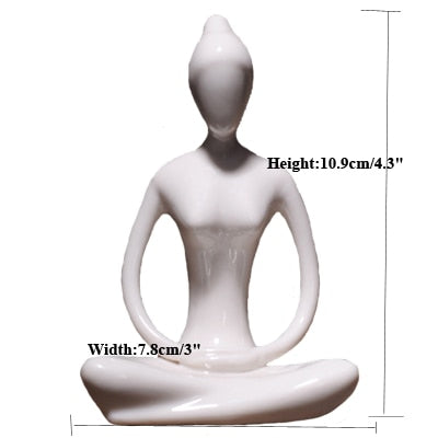 12 Styles Abstract Art Ceramic Yoga Poses Figurine Porcelain - Dealfactor Canada