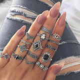 15 Pcs Vintage Silver Colored Bohemian Ring Set - Dealfactor Canada