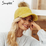 Women's Corduroy Hairball Adjustable Autumn Winter Hat - Dealfactor Canada