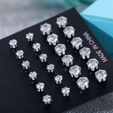 12 Pair- Pack AAA CZ Shiny Wedding Stud Earrings Set Lots