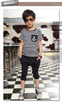 Boys Set Sailor Outfits Striped Anchor Tops With Half Pant Summer Set - Dealfactor Canada