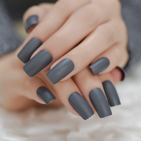 - Thick Style Fake Nails Matte Dark Grey Carnival Artificial Plastics  Square Shape
