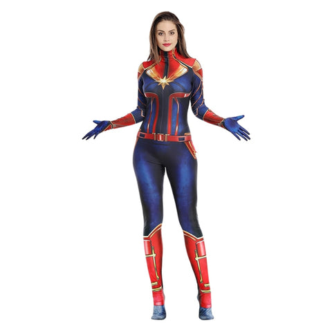 Women's Captain Marvel Costume Halloween Ms Marvel Sexy Jumpsuit - Dealfactor Canada