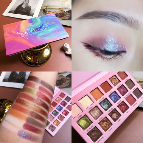 Matte Pearlescent Radiant Glitter Eye Shadow Palette 18 Colors Shimmer Pigment Eye Shadow Easy to Wear Makeup Eyeshadow TSLM2 (18 colors) - Dealfactor Canada