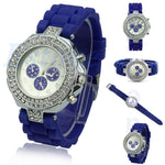 Unisex Casual Quartz Wristwatch Geneva Stainless Steel Jelly Silicone Watch