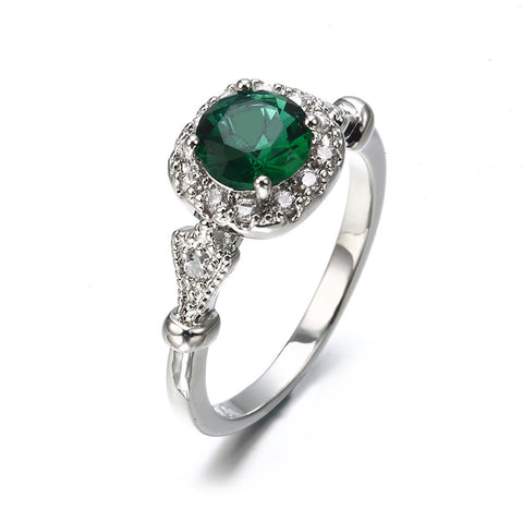 - New Vintage Green Stone Engagement Ring for Women Silver Colored Claws