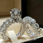 2Pcs Bridal Set Elegant Silver Colored Engagement Wedding Ring - Dealfactor Canada