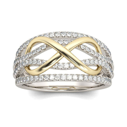 New Design Crystal Twist Cubic Silver Colored Two-Tone Wedding Ring Replica - Dealfactor Canada