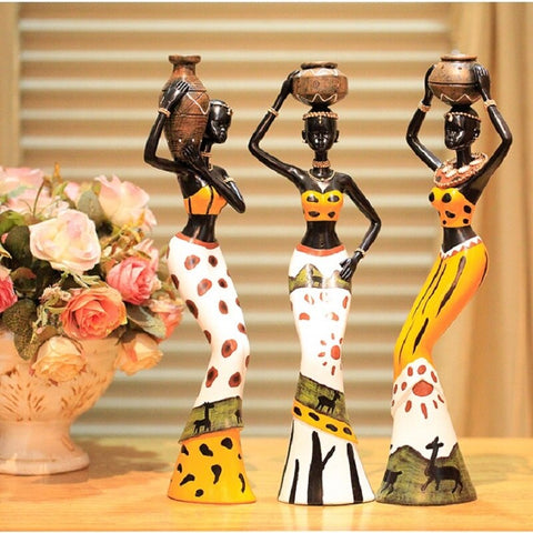 Resin Folk Lovers Art  3 African Girls Home Decor Figurine - Dealfactor Canada