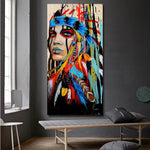 Modern Wall Art Prints Colorful Girl Feathered Women Canvas Painting