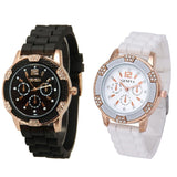 Geneva Watch Waterproof Women Watch Rose Gold Chronograph Silicone With Crystal Rhinestones