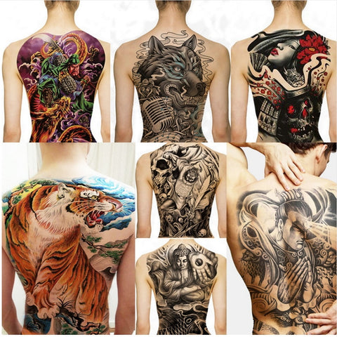 Big Large Full Back Chest Tattoo Stickers Fish Wolf Tiger Dragon Waterproof Temporary Tattoos