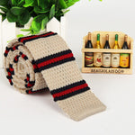 Men's Wool knitted Necktie Korean Flat-Head 5cm Stripes Tie - Dealfactor Canada