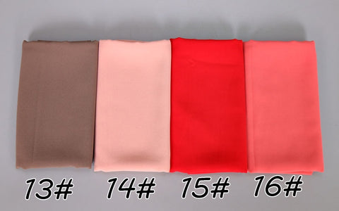 Women Plain Bubble Chiffon Hijab Scarf Wrap Solid Color Muslim Headscarf