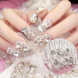24Pcs Luxe Shining Rhinestone Wedding False Nails Transparent Glitter Gems Crown Design - Dealfactor Canada