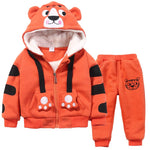Boys And Girls Cartoon Tigers Clothing Suits Plus Velvet Hoodies Pants 2Pcs Sets - Dealfactor Canada