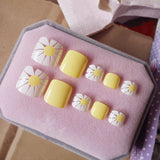 24Pcs Artificial Toe Nails Glitter Silver Fake Toenail Flat Top DIY Nail Art - Dealfactor Canada