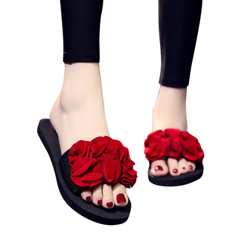 Women's Bohemian Flower Flat Slipper Sandals Non-slip