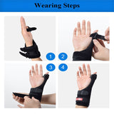 1pc Elastic Thumb Wristband Spring Steel Wrap Brace Right or Left Hand Support  (Black Medium) - Dealfactor Canada