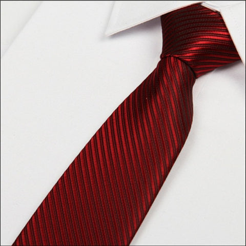 Men's Wine Red Silk Necktie Stripes 8 CM  (C03) - Dealfactor Canada