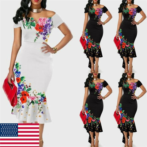 Women Off Shoulder Strap Elegant Bodycon Dress - Dealfactor Canada