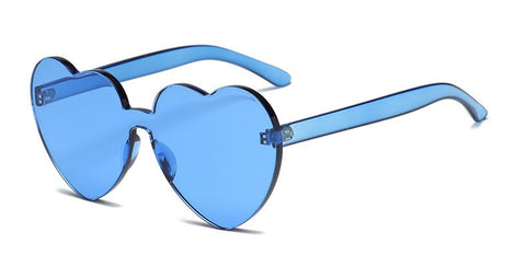 Ladies Retro Love Heart Rimless Sunglasses Candy Color UV400