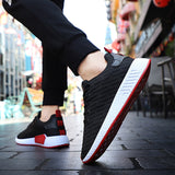 LudBA Men's Casual Running Shoes Mesh Breathable White And Red - Dealfactor Canada