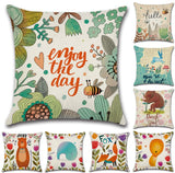 Hand-Painted Cartoon Jungle Animal Prints 45*45cm Cushion Cover Linen Throw Pillow