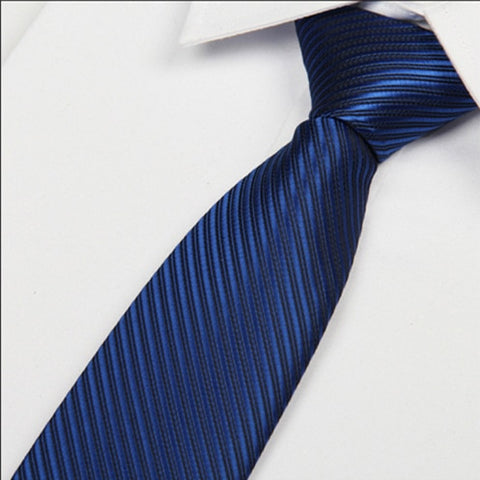 Mens Dark Blue Necktie 8 cm Polyester Stripe Silk - Dealfactor Canada