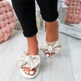 Women Slippers Slip On Peep Toe Bow Flats Casual Comfort Shoes