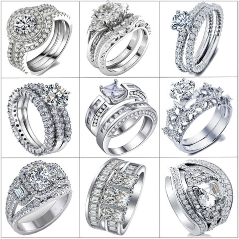 - 2-3pcs Bridal Ring Set Zirconia Silver Colored Engagement Ring Style