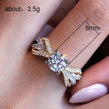 Silver Colored Engagement Ring For Woman Female Luxury Zirconia two-tone - Dealfactor Canada