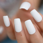 Solid White Frosted Fake Nails 24Pcs Matte False Nail Full Cover - Dealfactor Canada
