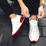 LudBA Casual Men's Running Shoes Mesh Breathable White And Red - Dealfactor Canada