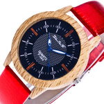 Dressy Wooden Creative Leather Band Design Classic Watch Luxury Quartz Wristwatches