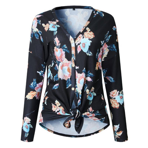 Women Floral Print Cardigan Casual V Neck Long Sleeve Tops - Dealfactor Canada
