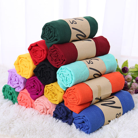 Monochrome Candy Colored Silk Linen Hijab Scarf Solid Color