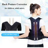 Adjustable Black Back Posture Corrector Shoulder Lumbar Spine Brace - Dealfactor Canada