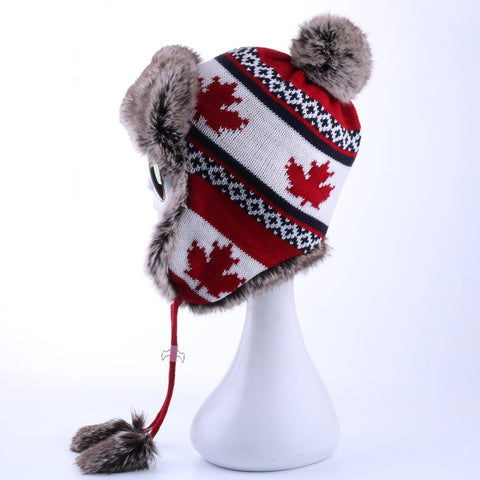 Women's Bomber Wool Knitted Snow Hat Maple Leaf Trapper Aviator Cap Ear Flaps - Dealfactor Canada