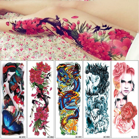 16 Designs Full Arm Temporary Tattoo Sleeve Waterproof Tattoos Stickers