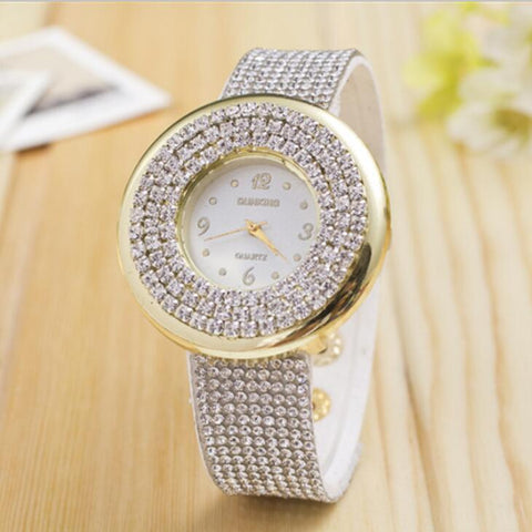 Women Dressy Wrist Watch Luxury Full Crystal Leather Band Quartz