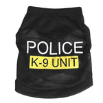 Police Suit Cosplay Dog Clothes Black Elastic Vest Puppy T-Shirt