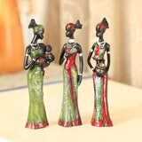 - Resin Folk Lovers Art  3 African Girls Home Decor Figurine