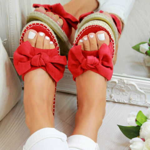 Women Linen Flip-Flops Slides Summer Bow Sandals For Indoor Outdoor Beach
