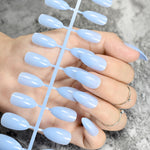 24pcs Solid Nude Color Oval Sharp End Stiletto False Nails Full Cover - Dealfactor Canada
