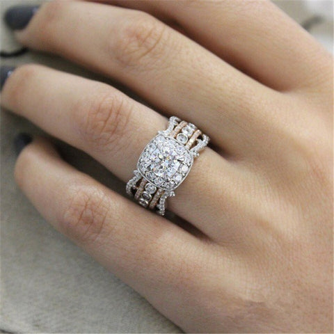 - New Silver Colored With Rose Gold Two-Tone Ring for Women