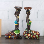 2Pcs African Women Resin Statue Candlestick Home Decoration Craft - Dealfactor Canada